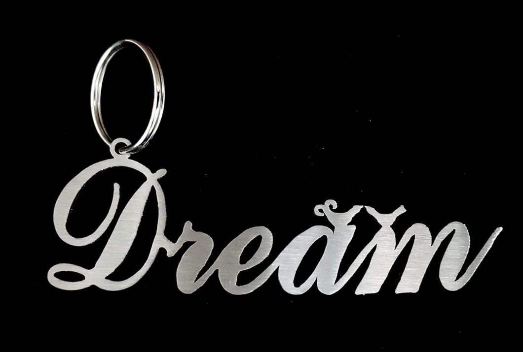 Dream with Birds Key Ring Stainless steel brush finish