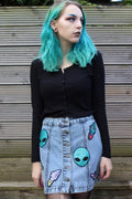 Give Me Space Button Up Denim Skirt
