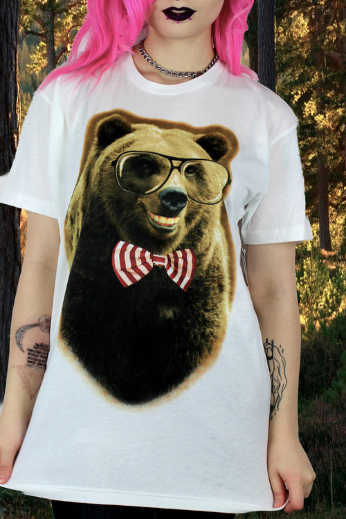 Goodie Two Sleeves Bear Bow Tee