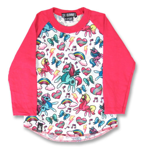 Six Bunnies Pink Unicorns Raglan