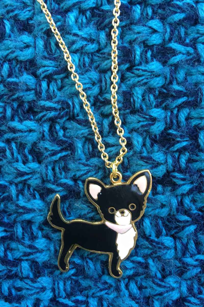 Lino chihuahua necklace - black