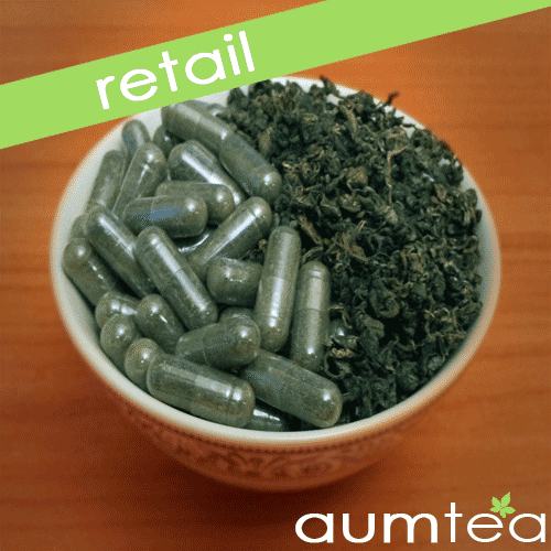 Organic Gynostemma Tea and Jiaogulan Capsules in Pill Form
