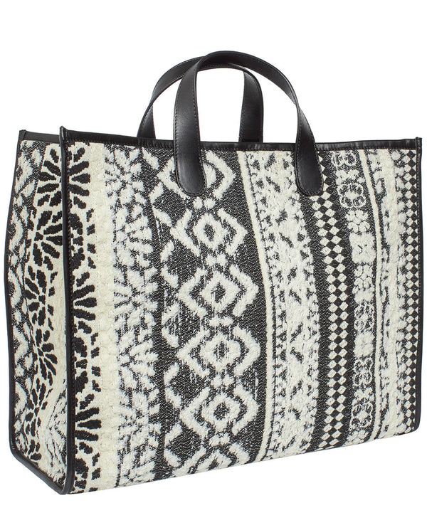 BOLSO SHOPPING GRANDE BLANCO Y NEGRO by MIRTO