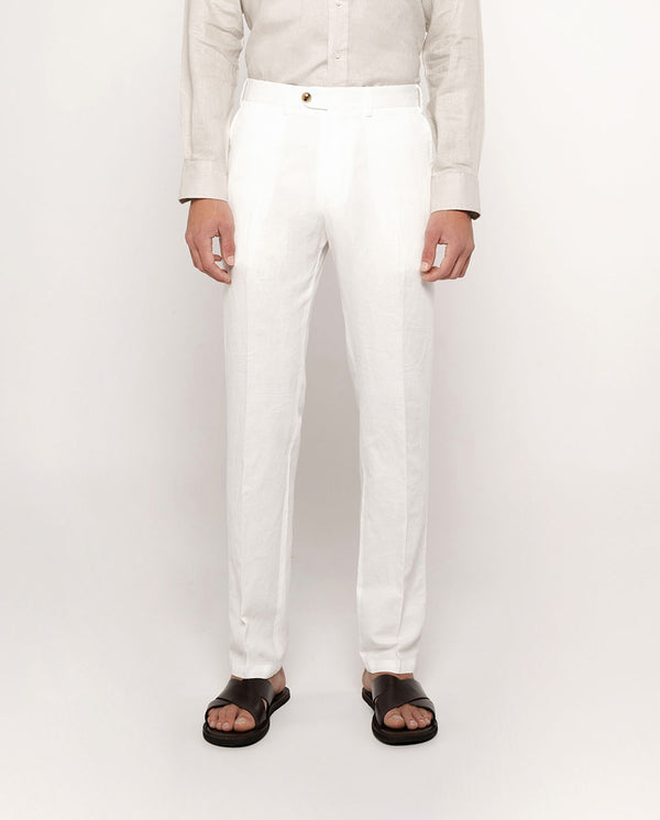PANTALON CASUAL BLANCO DE ALGODON Y LINO by MIRTO
