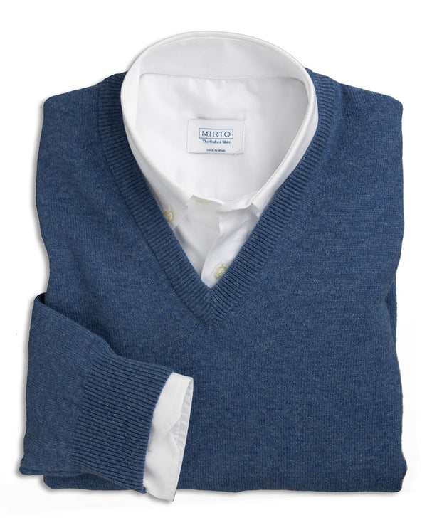 JERSEY LAMBSWOOL CUELLO PICO AZUL by MIRTO