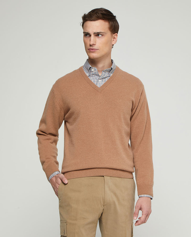 JERSEY LAMBSWOOL CUELLO PICO BEIGE by MIRTO