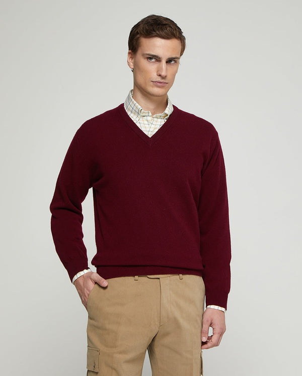 JERSEY LAMBSWOOL CUELLO PICO BURDEOS by MIRTO