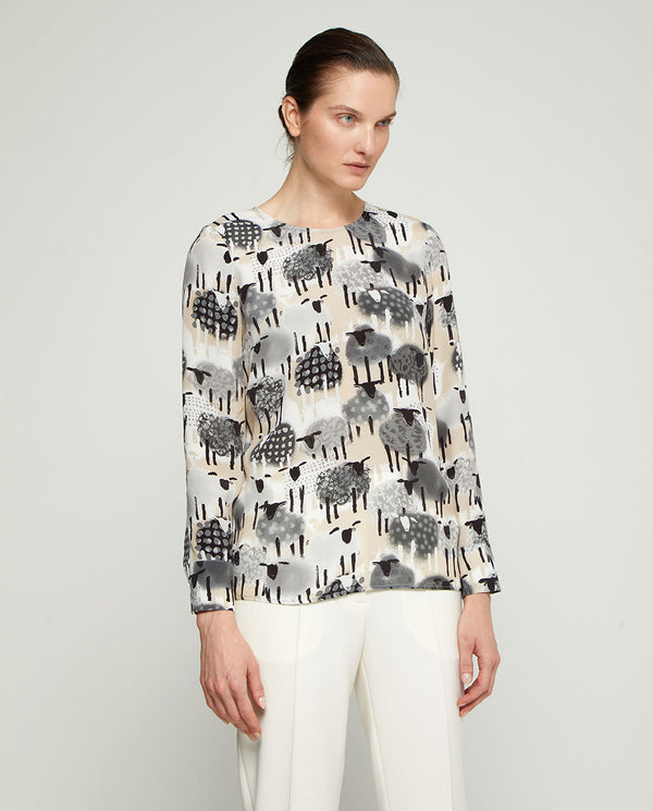 TOP GRIS ESTAMPADO by MIRTO