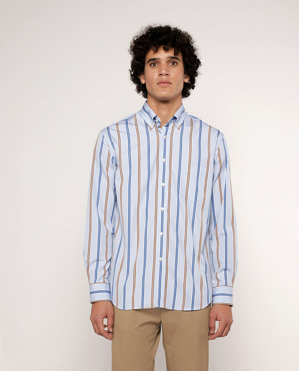 CAMISA CASUAL RAYAS MANGA LARGA by MIRTO