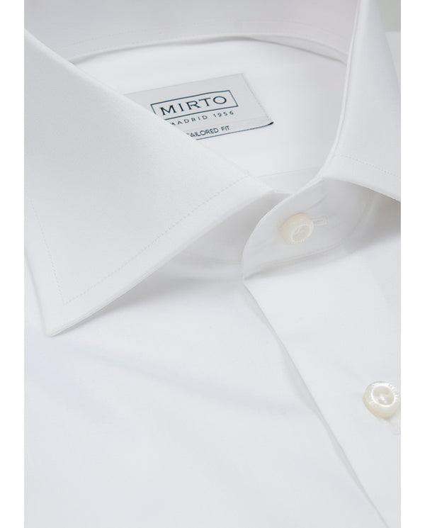 CAMISA SEMI-ENTALLADA PUÑO DOBLE BLANCO by MIRTO