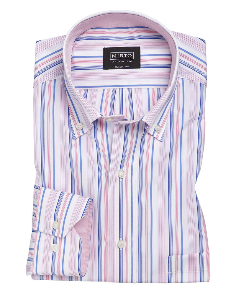 CAMISA CASUAL MANGA LARGA RAYAS ROSA by MIRTO