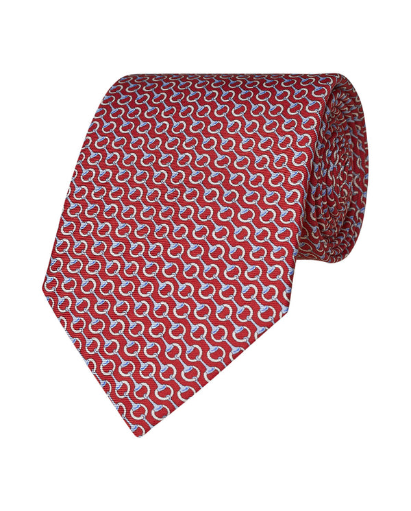 CORBATA ESTAMPADA DE TWILL SEDA ROJO by MIRTO