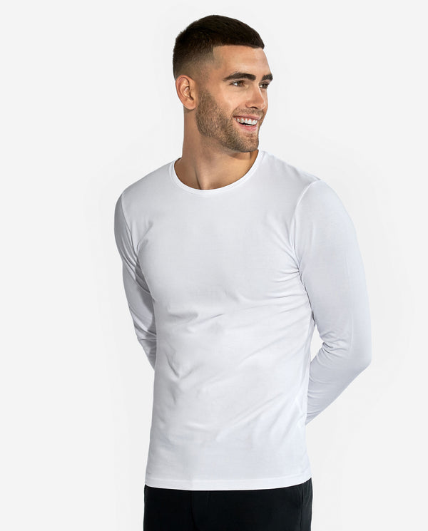 CREW-NECK LONG SLEEVE WHITE by MIRTO