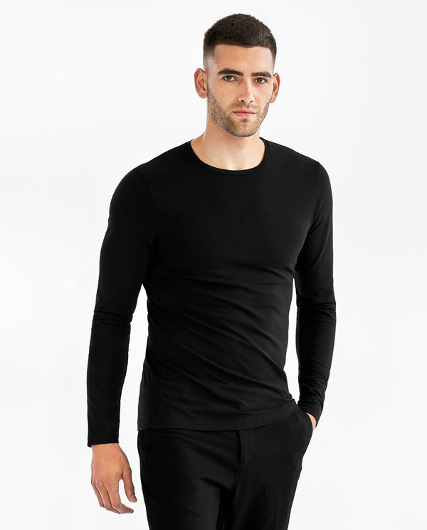 CREW-NECK LONG SLEEVE BLACK by MIRTO