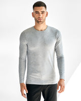 CREW-NECK LONG SLEEVE GREY MELANGE by MIRTO
