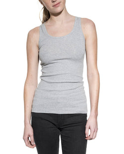 TANK RIBBED GREY MELANGE by MIRTO