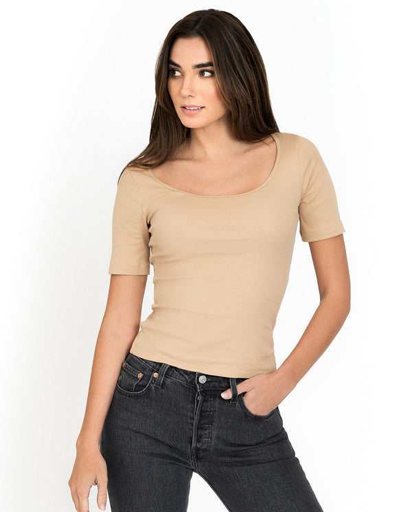 SB T-SHIRT RIBBED BEIGE by MIRTO