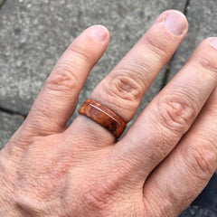 burl wood ring on hand
