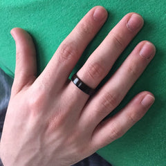 ebony wood ring on finger