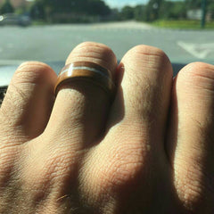 wood ring on finger