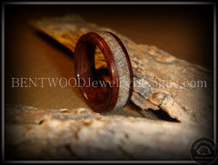 Bentwood Rings - Rosewood Wood Ring with Light Sand Inlay - Bentwood Jewelry Designs - Custom Handcrafted Bentwood Wood Rings  - 1