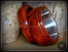 Bentwood Rings - Amboyna Burl Wooden Rings with Stainless Steel Inlay on Surgical Steel Cores handcrafted bentwood wooden rings wood wedding ring engagement