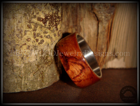 Bentwood Ring - Waterfall Bubinga Wood Ring with Surgical Grade Stainless Steel Comfort Fit Metal Core
