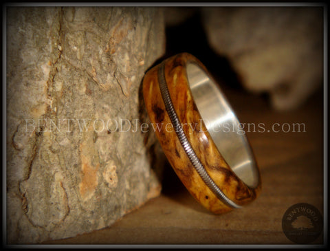 "Tazzy Bentwood Ring - "" California"" Buckeye Burl Wood Ring with Stainless Steel Comfort Core and Guitar String Inlay"