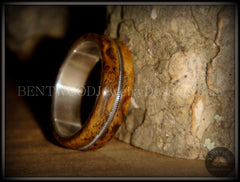 "Bentwood Ring - Buckeye Burl ""California"" Wood Ring with Fine Silver Core and Guitar String Inlay - Bentwood Jewelry Designs - Custom Handcrafted Bentwood Wood Rings"