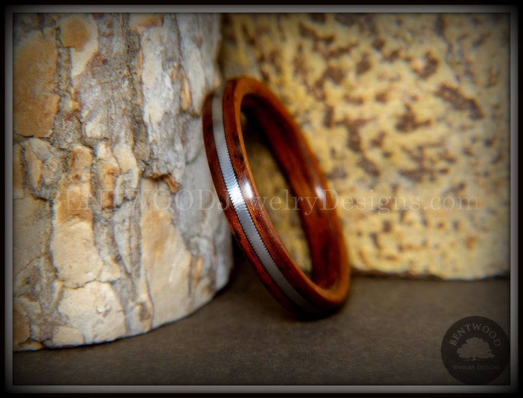 "Bentwood Ring - ""Heavy Electric"" Cocobolo Ring with Thick Silver Guitar String Inlay - Bentwood Jewelry Designs - Custom Handcrafted Bentwood Wood Rings"