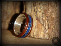 "Bentwood Ring - ""Tracks"" Light Ebony Wood Ring with Fine Silver Core, Double Guitar String and Blue Lapis Inlay handcrafted bentwood wooden rings wood wedding ring engagement"