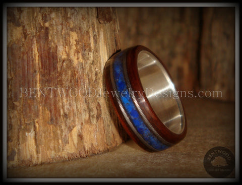 "Bentwood Ring - ""Tracks"" Light Ebony Wood Ring with Fine Silver Core, Double Guitar String and Blue Lapis Inlay"