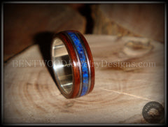 "Bentwood Ring - ""Tracks"" Light Ebony Wood Ring with Fine Silver Core, Double Guitar String and Blue Lapis Inlay - Bentwood Jewelry Designs - Custom Handcrafted Bentwood Wood Rings"