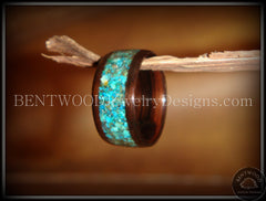 Bentwood Ring - Macassar Ebony Wood Ring with Chrysocolla Stone Inlay - Bentwood Jewelry Designs - Custom Handcrafted Bentwood Wood Rings
