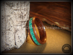 Bentwood Ring - Macassar Ebony Wood Ring with Malachite Inlay using Bentwood Process - Bentwood Jewelry Designs - Custom Handcrafted Bentwood Wood Rings  - 1