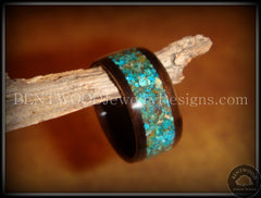 Bentwood Ring - Macassar Ebony Wood Ring with Chrysocolla Stone Inlay - Bentwood Jewelry Designs - Custom Handcrafted Bentwood Wood Rings  - 5