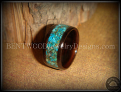 Bentwood Ring - Macassar Ebony Wood Ring with Chrysocolla Stone Inlay - Bentwood Jewelry Designs - Custom Handcrafted Bentwood Wood Rings  - 1
