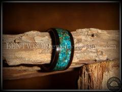 Bentwood Ring - Macassar Ebony Wood Ring with Chrysocolla Stone Inlay - Bentwood Jewelry Designs - Custom Handcrafted Bentwood Wood Rings  - 2