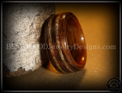 Bentwood Ring - Macassar Ebony Wood Ring with Double Sand Inlay