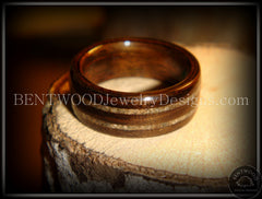 Bentwood Ring - Macassar Ebony Wood Ring with Double Sand Inlay - Bentwood Jewelry Designs - Custom Handcrafted Bentwood Wood Rings