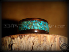 Bentwood Ring - Macassar Ebony Wood Ring with Chrysocolla Stone Inlay - Bentwood Jewelry Designs - Custom Handcrafted Bentwood Wood Rings  - 3