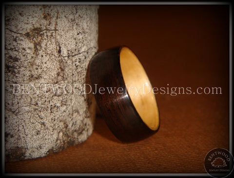 Bentwood Ring - Macassar Ebony Wood Ring (Dark) with Birch Liner