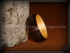 Bentwood Ring - Macassar Ebony Wood Ring (Dark) with Birch Liner handcrafted bentwood wooden rings wood wedding ring engagement