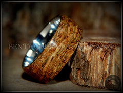 "Bentwood Ring - ""Figured Green"" Mediterranean Oak Burl Wood Ring with Surgical Grade Stainless Steel Comfort Fit Metal Core - Bentwood Jewelry Designs - Custom Handcrafted Bentwood Wood Rings"