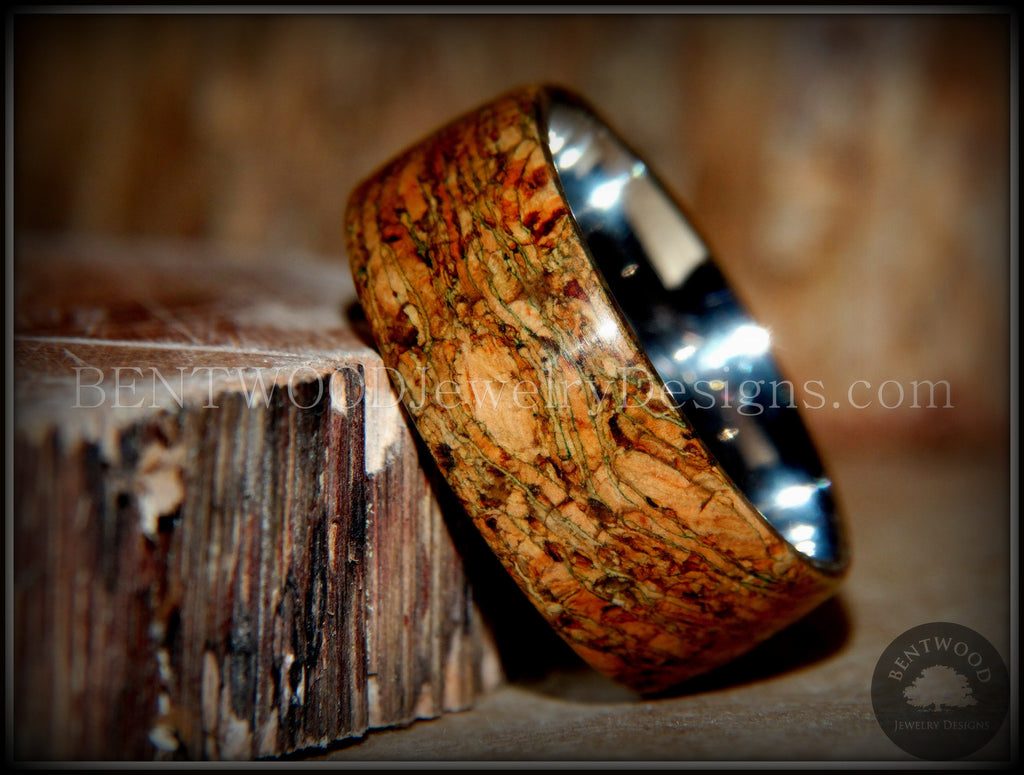 "Bentwood Ring - ""Figured Green"" Mediterranean Oak Burl Wood Ring with Surgical Grade Stainless Steel Comfort Fit Metal Core - Bentwood Jewelry Designs - Custom Handcrafted Bentwood Wood Rings  - 1"