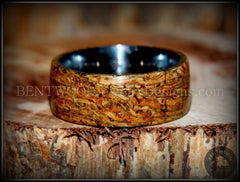 "Bentwood Ring - ""Figured Green"" Mediterranean Oak Burl Wood Ring with Surgical Grade Stainless Steel Comfort Fit Metal Core - Bentwood Jewelry Designs - Custom Handcrafted Bentwood Wood Rings  - 3"