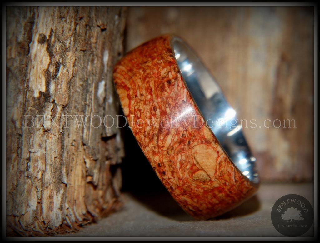 "Bentwood Ring - ""Figured Red"" Mediterranean Oak Burl Wood Ring with Surgical Grade Stainless Steel Comfort Fit Metal Core - Bentwood Jewelry Designs - Custom Handcrafted Bentwood Wood Rings"