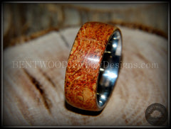 "Bentwood Ring - ""Figured Red"" Mediterranean Oak Burl Wood Ring with Surgical Grade Stainless Steel Comfort Fit Metal Core handcrafted bentwood wooden rings wood wedding ring engagement"