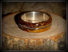 "Bentwood Ring - Buckeye Burl ""California"" Wood Ring with Fine Silver Core and Guitar String Inlay handcrafted bentwood wooden rings wood wedding ring engagement"