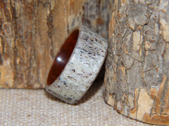"Bentwood Ring -  ""Aglow"" Deer Antler on Padauk Wood Core with Phosphorescent Stabilized handcrafted bentwood wooden rings wood wedding ring engagement"